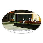 Nightpenguins is back! Oval Sticker