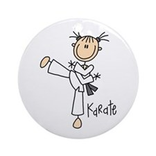Stick Figure Karate Ornament (Round)