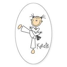 Stick Figure Karate Oval Decal