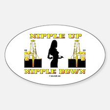 Nipple Up Nipple Down Oval Decal