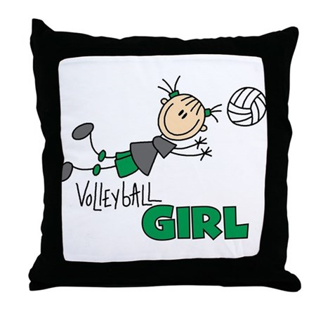 Volleyball Girl Throw Pillow