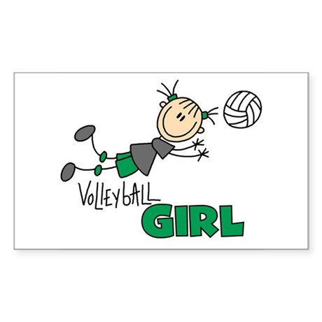Volleyball Girl Rectangle Sticker 10 pk)