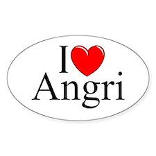 """I Love (Heart) Angri"" Oval Decal"
