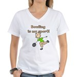Stick Figure Bowling Women's V-Neck T-Shirt