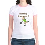 Stick Figure Bowling Jr. Ringer T-Shirt