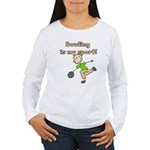Stick Figure Bowling Women's Long Sleeve T-Shirt