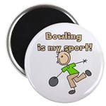 """Stick Figure Bowling 2.25"""" Magnet (10 pack)"""