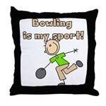 Stick Figure Bowling Throw Pillow