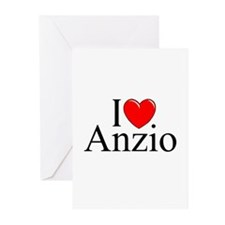 """I Love (Heart) Anzio"" Greeting Cards (Pk of 10)"