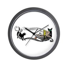 Spooky Black Cat and Skull Wall Clock