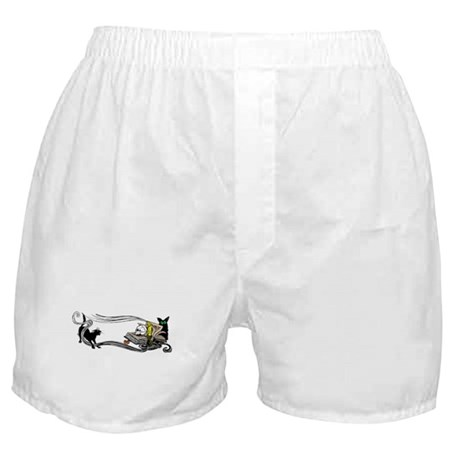 Spooky Black Cat and Skull Boxer Shorts