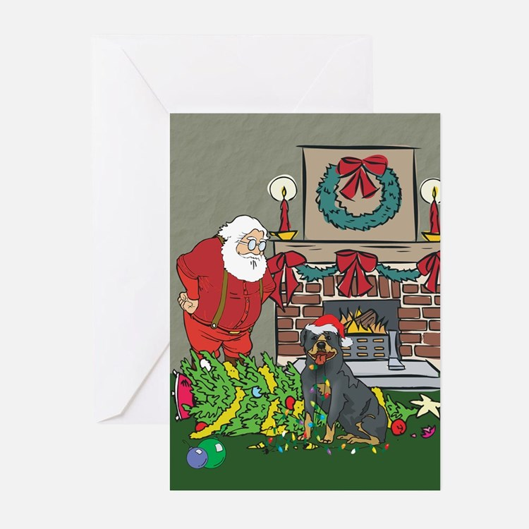Santa's Helper Rottweiler Greeting Cards (Pk of 10