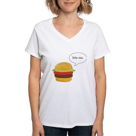 Bite Me Burger Women's V-Neck T-Shirt