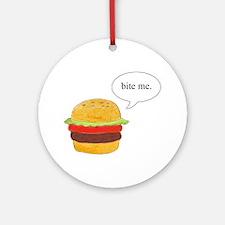 Bite Me Burger Ornament (Round)