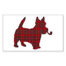 Scottish Terrier Tartan Rectangle Decal