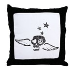 Peace & Love Skull with Wings Throw Pillow