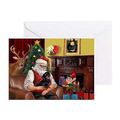 Santa's Dachshund (BT) Greeting Cards (Pk of 10)