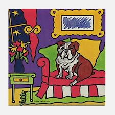 Bulldog Couch Bully Tile Coaster
