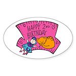 Happy 2nd Birthday Oval Sticker (10 pk)