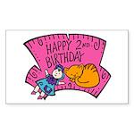 Happy 2nd Birthday Rectangle Sticker 50 pk)