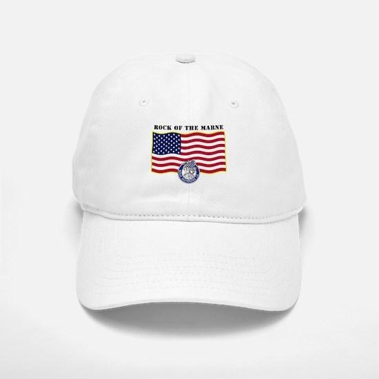 Rock of the Marne and Flag Baseball Baseball Cap
