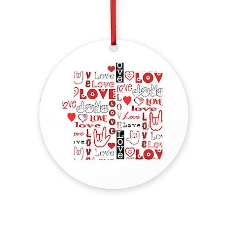 Love WordsHearts Ornament (Round)
