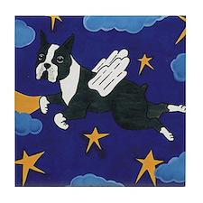 Flying Angel Boston Terrier Tile Coaster