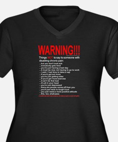 Pain Warning Women's Plus Size V-Neck Dark T-Shirt