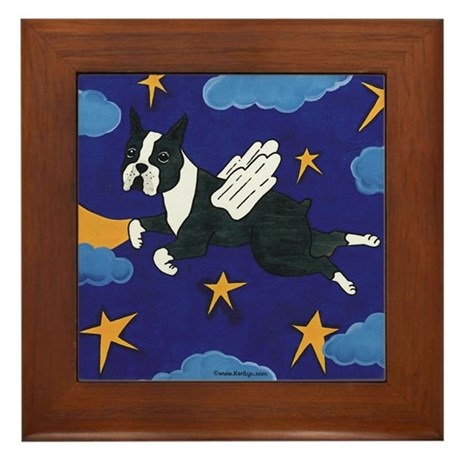 Flying Boston Terrier Angel Framed Tile
