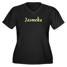 Jasmeka in Gold - Women's Plus Size V-Neck Dark T-