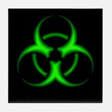 Neon Green Biohazard Symbol Tile Coaster
