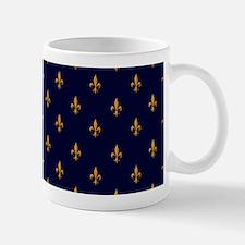 Navy Blue & Gold Fleur-de-Lis Pattern Mug