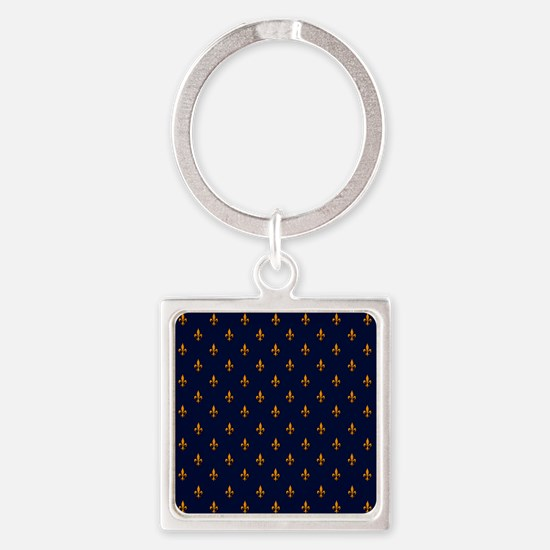 Navy Blue & Gold Fleur-de-Lis Patt Square Keychain
