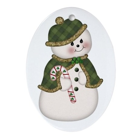 Irish SnowLady Oval Ornament