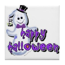 Happy Halloween snowman 1 Tile Coaster