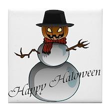 Happy Halloween snowman 2 Tile Coaster