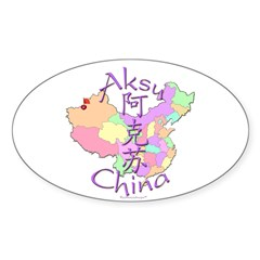 Aksu China Map Oval Sticker (10 pk)