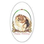 Pomeranian Pom Holiday Oval Sticker