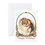 Pomeranian Pom Holiday Greeting Cards (Package of