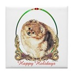 Pomeranian Pom Holiday Tile Coaster