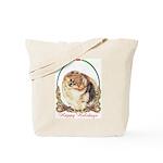 Pomeranian Pom Holiday Tote Bag
