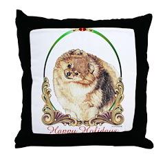 Pomeranian Pom Holiday Throw Pillow