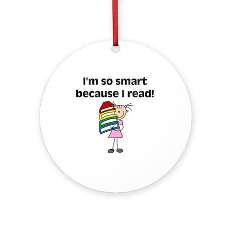 Girl Smart Reader Ornament (Round)