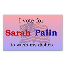 Palin wash my dishes Rectangle Decal