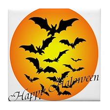 Happy Halloween Moon Tile Coaster