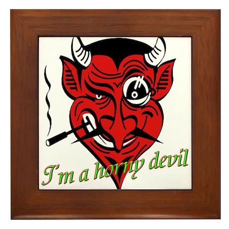 Halloween Horny Devil Framed Tile