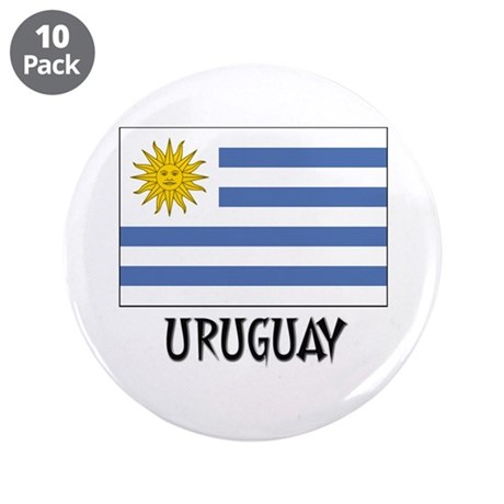 """Uruguay Flag 3.5"""" Button (10 pack)"""