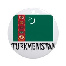Turkmenistan Flag Ornament (Round)