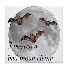 Halloween Moon I've seen a ba Tile Coaster