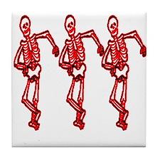 Halloween 3 skeletons dancing Tile Coaster